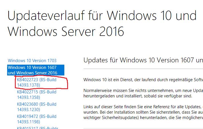 Cumulative Update KB4022723 Windows 10 v1607 Build 14393 1378