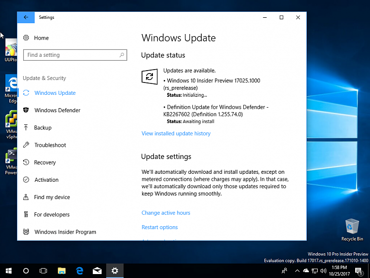 windows 10 pro insider preview 17025