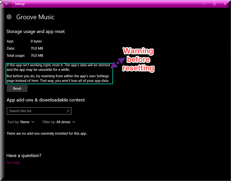 Click image for larger version.  Name:Warning Before Resetting Groove Music.png Views:4 Size:56.9 KB ID:169886
