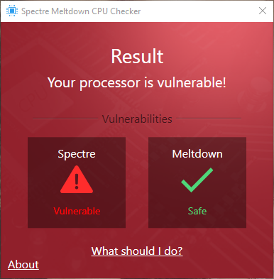 Click image for larger version.  Name:Spectre Meltdown CPU Checker- Result.png Views:62 Size:100.6 KB ID:172684