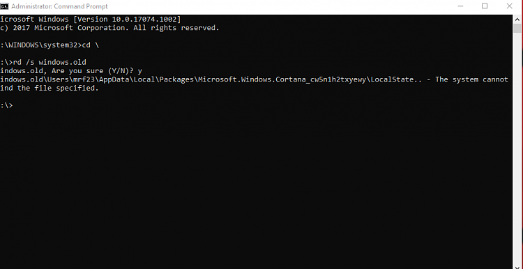 Click image for larger version.  Name:Windows.old command line.PNG Views:3 Size:18.0 KB ID:173905