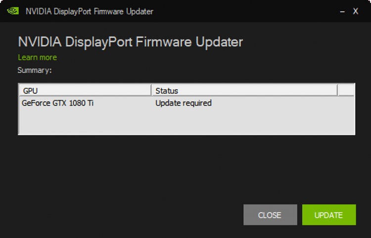 NVIDIA GRAPHICS FIRMWARE UPDATE TOOL FOR DISPLAYPORT 1 3 AND