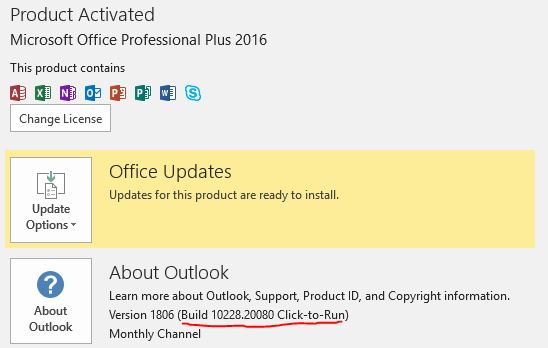 Office 365 Monthly Channel v1806 build 10228 20080 - June 25 Office