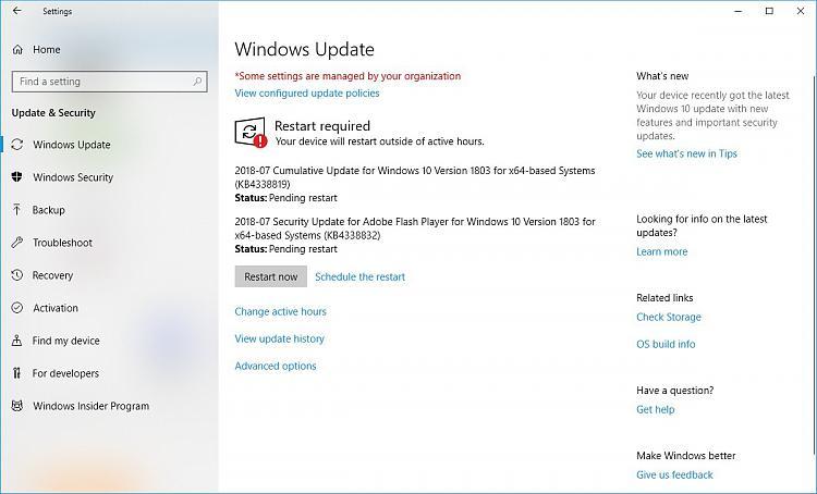 Cumulative Update KB4338819 Windows 10 v1803 Build 17134 165