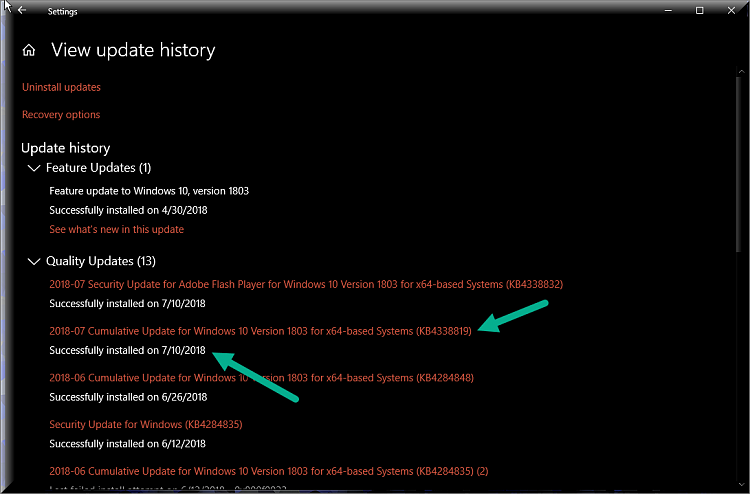 Click image for larger version.  Name:Update History After KB4338819.png Views:4 Size:77.3 KB ID:195308