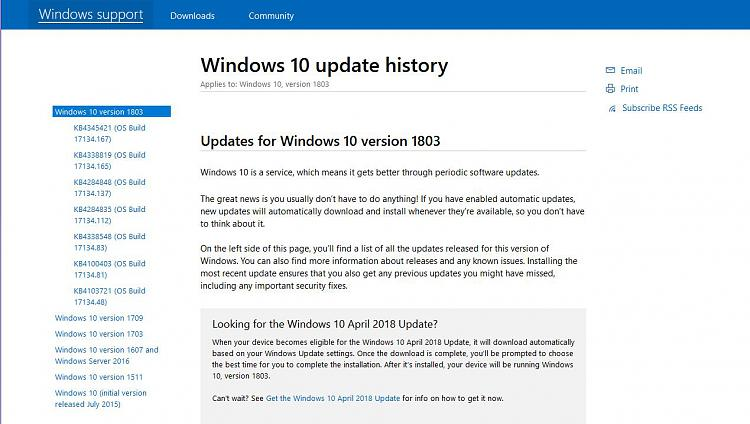Cumulative Update KB4345421 Windows 10 v1803 Build 17134 167