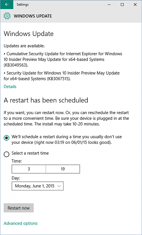 New Security Updates KB3049563 and KB3067515 for Windows 10-wufubar.png
