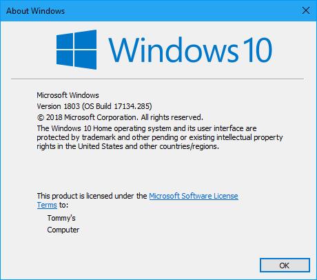Cumulative Update KB4457128 Windows 10 v1803 Build 17134 285