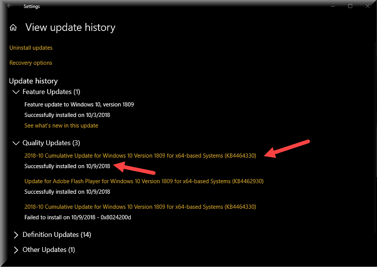 Cumulative Update KB4464330 Windows 10 v1809 Build 17763.55 - Oct. 9-kb4464330-successfully-installed.png