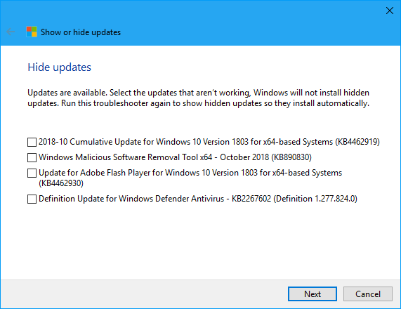 Cumulative Update KB4462919 Windows 10 v1803 Build 17134.345 - Oct. 9-capture.png