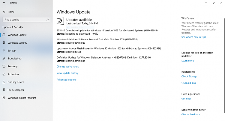Cumulative Update KB4462919 Windows 10 v1803 Build 17134 345