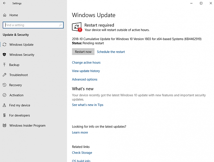 Cumulative Update KB4462919 Windows 10 v1803 Build 17134 345 - Oct