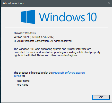 KB4464455 Windows 10 Insider Preview Slow + RP Build 17763.107 Oct. 30-107.png