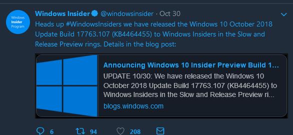 KB4464455 Windows 10 Insider Preview Slow + RP Build 17763.107 Oct. 30-capture.png