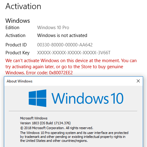 MSFT acknowledges some Win10 Pro licenses being mistakenly deactivated-1803-not-activated.png