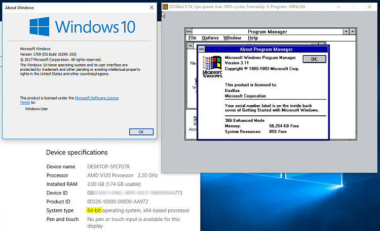 Click image for larger version.  Name:Win3.11 on Win10.PNG Views:5 Size:120.2 KB ID:211762