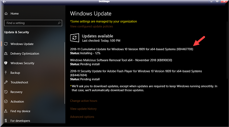 Cumulative Update KB4464455 Windows 10 v1809 Build 17763.107 - Nov. 13-kb4467708-installing.png