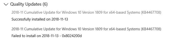 Cumulative Update KB4467708 Windows 10 v1809 Build 17763 134 - Nov