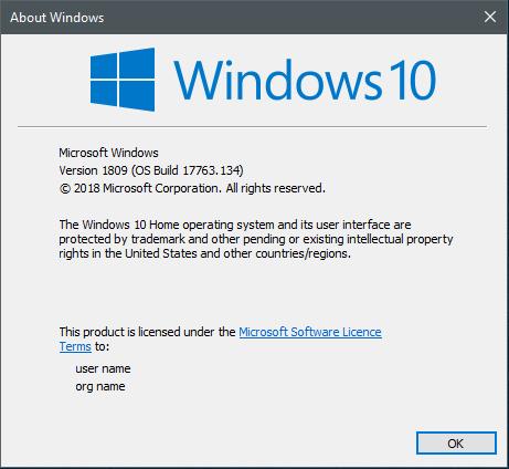 Cumulative Update KB4467708 Windows 10 v1809 Build 17763.134 - Nov. 13-134.png