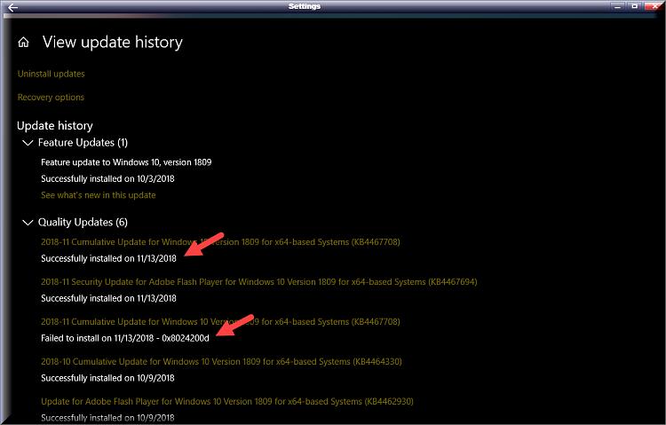 Cumulative Update KB4467708 Windows 10 v1809 Build 17763.134 - Nov. 13-kb4467708-failed-unnoticed.png