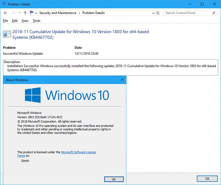 Cumulative Update KB4467702 Windows 10 v1803 Build 17134.407 - Nov. 13-17134.407.png
