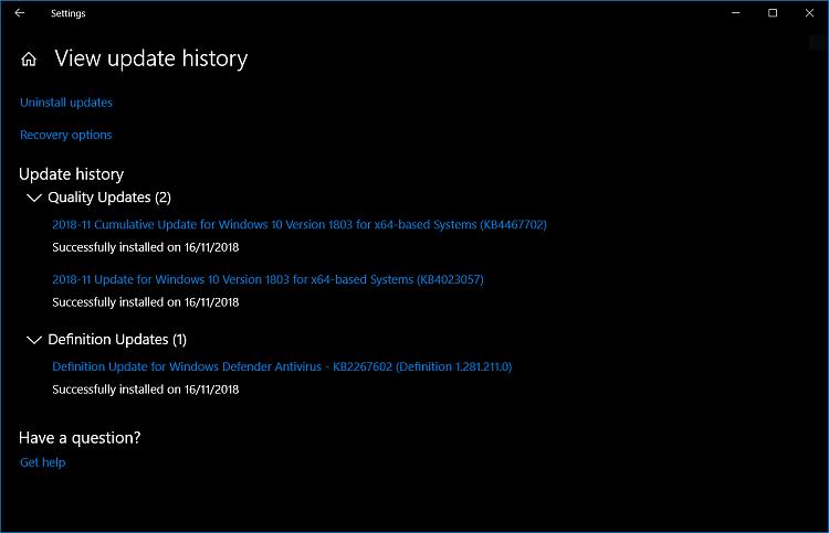 Cumulative Update KB4467702 Windows 10 v1803 Build 17134.407 - Nov. 13-wu-update-history.png