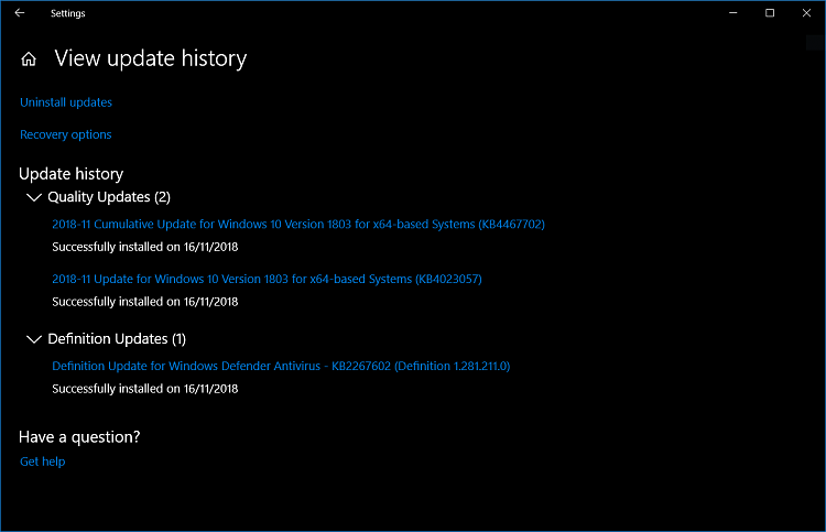 Click image for larger version.  Name:WU - Update history.PNG Views:0 Size:38.2 KB ID:212461