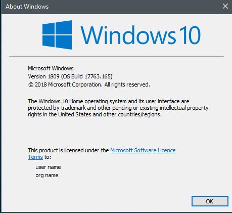 KB4469342 Windows 10 Insider RP v1809 Build 17763.165 - Nov. 16-165.png
