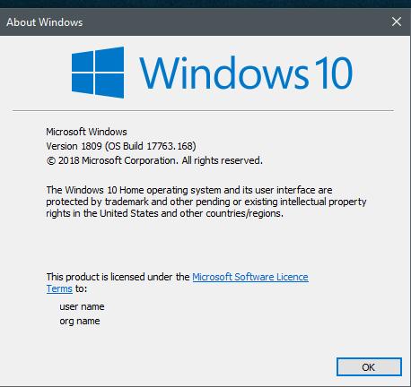 KB4469342 Windows 10 Insider RP v1809 Build 17763.168 - Dec. 3-168.png