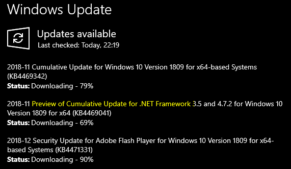 KB4469342 Windows 10 Insider RP v1809 Build 17763 168 - Dec  3