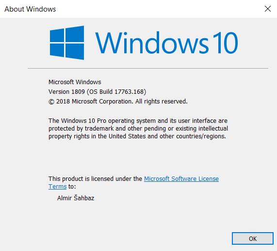 Cumulative Update KB4469342 Windows 10 v1809 Build 17763.168 - Dec. 5-test.png