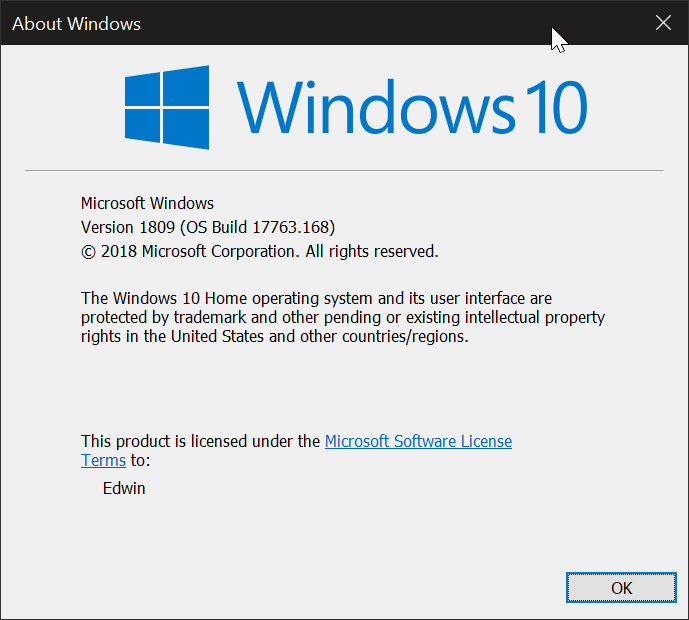 Cumulative Update KB4469342 Windows 10 v1809 Build 17763.168 - Dec. 5-000011.png