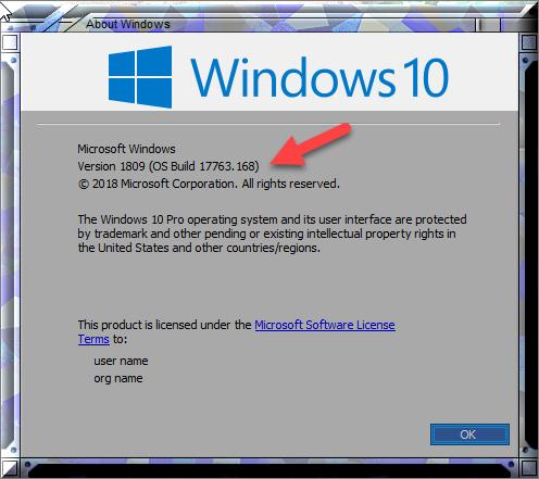 Cumulative Update KB4469342 Windows 10 v1809 Build 17763.168 - Dec. 5-winver-after-kb4469342.png