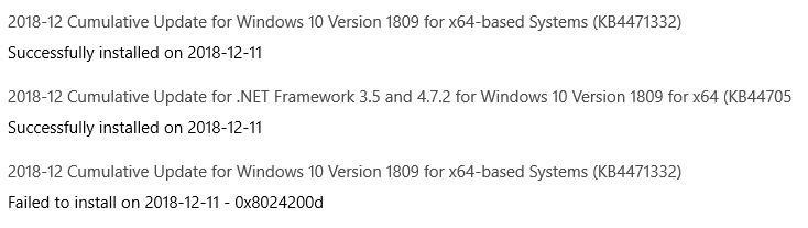 Cumulative Update KB4471332 Windows 10 v1809 Build 17763.194 - Dec. 11-fail.jpg