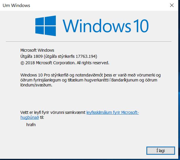 Cumulative Update KB4471332 Windows 10 v1809 Build 17763.194 - Dec. 11-winver.png