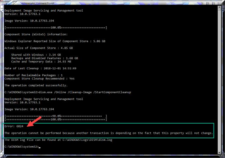 Cumulative Update KB4471332 Windows 10 v1809 Build 17763.194 - Dec. 11-error-6824-still-persistent-after-kb4471332.png
