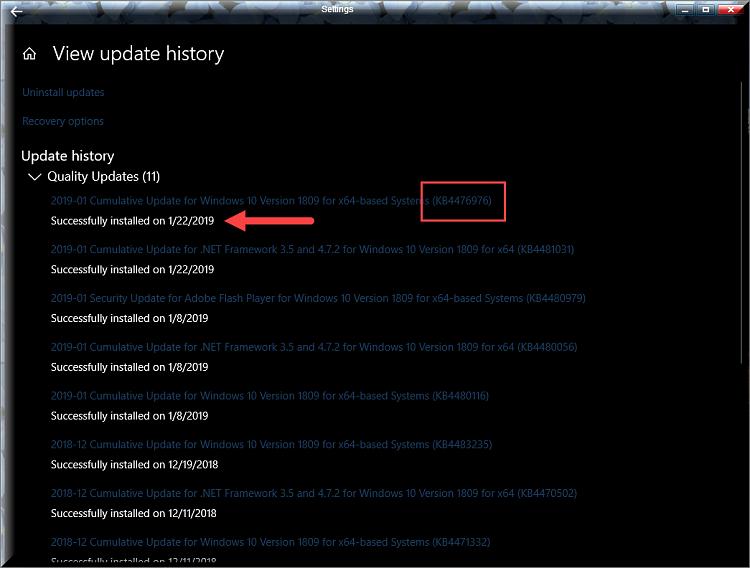 Cumulative Update KB4476976 Windows 10 v1809 Build 17763.292 - Jan. 22-kb4476976-successfully-installed.png