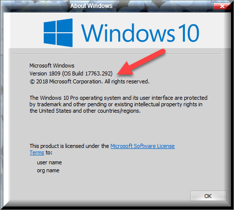 Cumulative Update KB4476976 Windows 10 v1809 Build 17763.292 - Jan. 22-winver-after-installing-kb4476976.png
