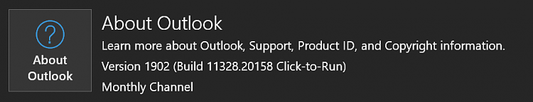 Office 365 Monthly Channel v1902 build 11328 20158 - March 12 Office