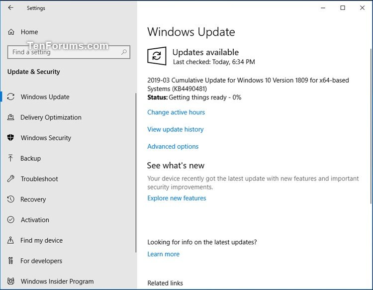 Cumulative Update KB4490481 Windows 10 RP Build 17763 402