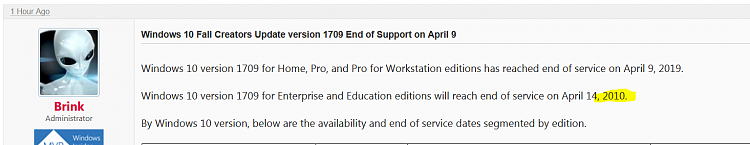Windows 10 Fall Creators Update version 1709 End of Support on April