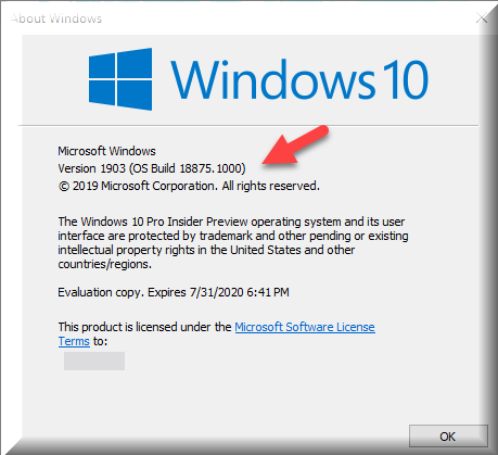 Click image for larger version.  Name:Winver after installing Version 1903 OS Build18875.1000.png Views:125 Size:24.8 KB ID:230617