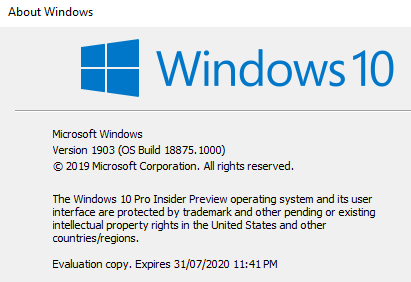 New Windows 10 Insider Preview Fast+Skip Build 18885 (20H1) - April 26-winver.png