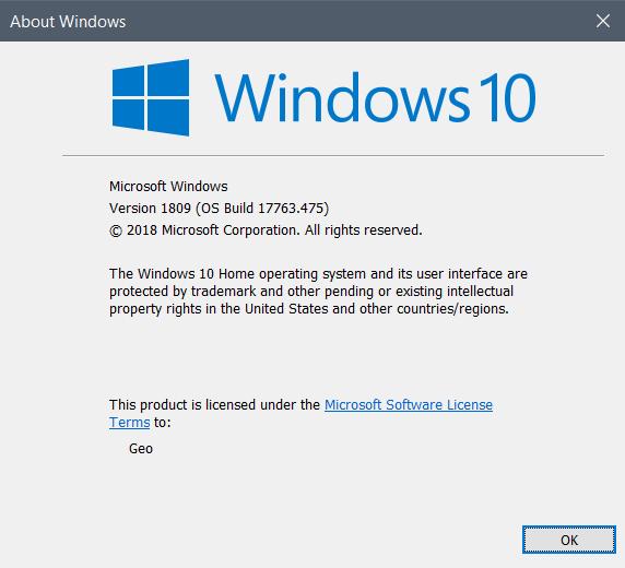 Cumulative Update KB4495667 Windows 10 v1809 Build 17763.475 - May 3-winver_17763.475.png