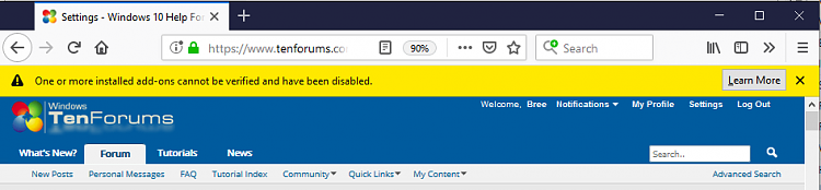 Your Firefox extensions are all disabled? That's a bug! - Windows 10