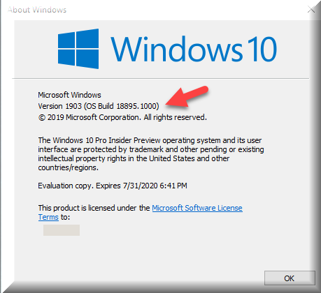 Click image for larger version.  Name:Winver after installing Version 1903 OS Build18895.1000.png Views:65 Size:25.4 KB ID:233359