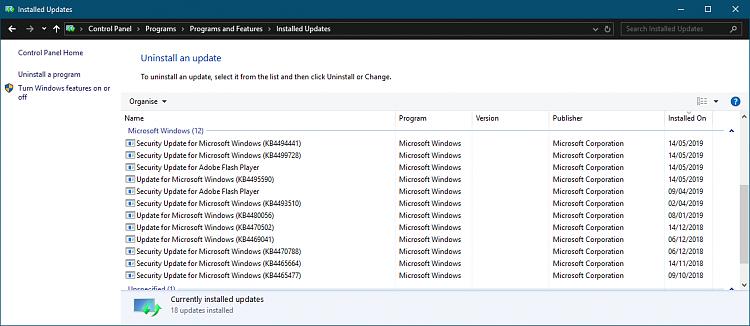 Cumulative Update KB4494441 Windows 10 v1809 Build 17763.503 - May 14-2019-05-14.png