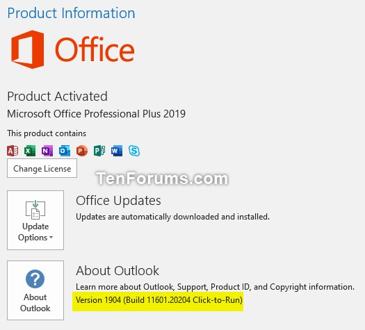Office 365 Monthly Channel v1904 build 11601 20204 - May 14 Office