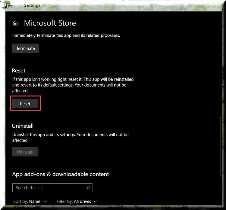 Click image for larger version.  Name:Resetting The Microsoft Store App.png Views:2 Size:117.5 KB ID:234002