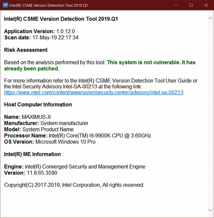 Intel CSME, SPS, TXE, DAL, and Intel AMT 2019 1 QSR Advisory
